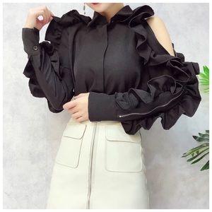 ❤️ Dramatic Black Zip Ruffle Sleeve Top